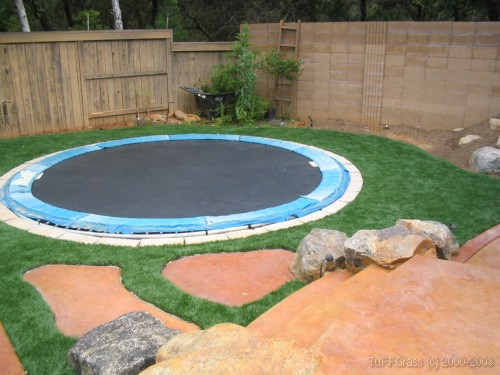 Artificial grass back yard lawn, trampoline, basketball half court, stepping stones 1