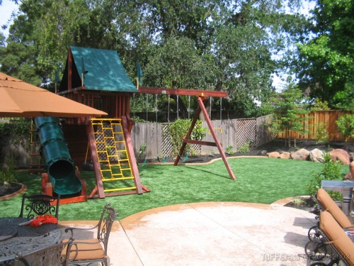 redwood playset artificial grass lawn 1