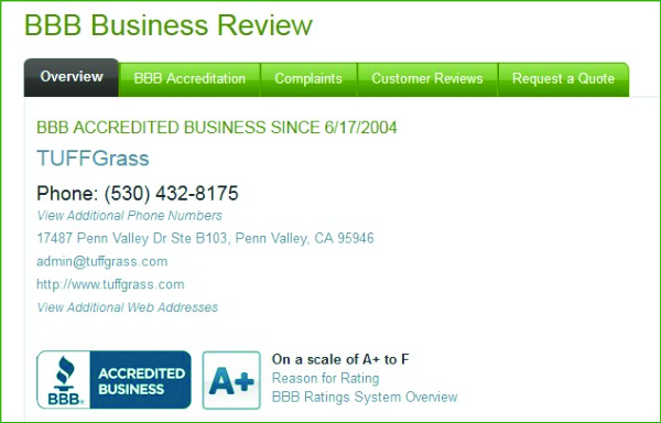 BETTER BUSINESS BUREAU - A+ RATING FOR TUFFGRASS - ARTIFICIAL GRASS INSTALLER