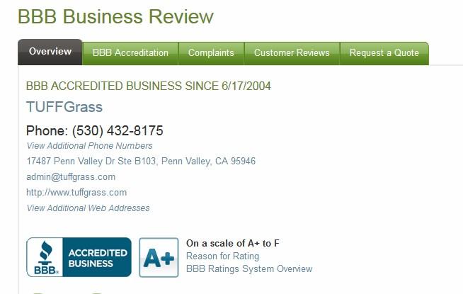 BETTER BUSINESS BUREAU - TUFFGRASS RATING - BBB RATING A+