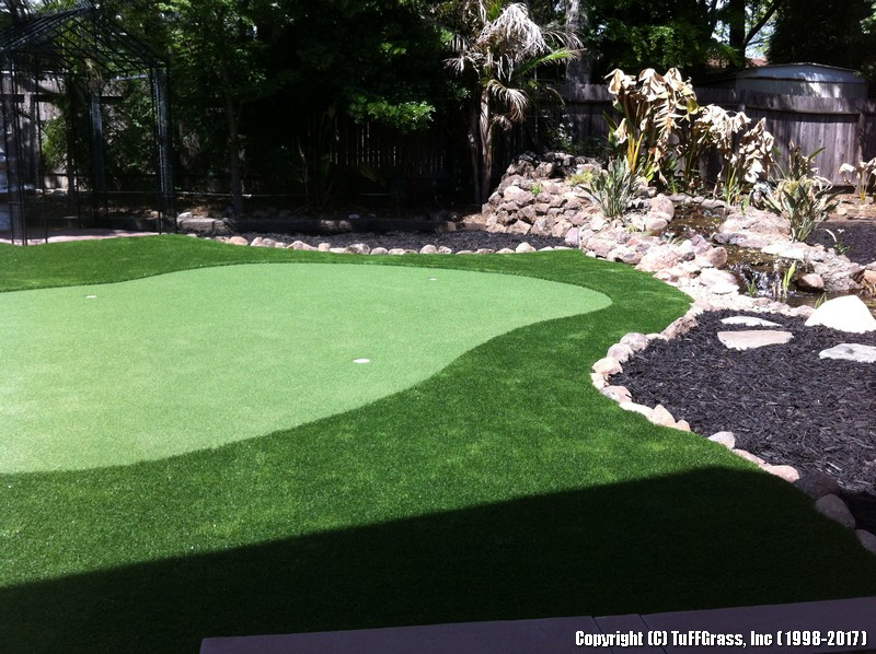 ELEVATED BACKYARD LAWN AND PUTTING GREEN